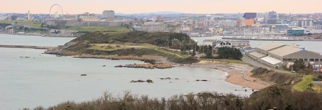 South West Coast Path, Mount Batten, Ruth on her coastal walk