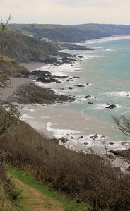 high above Port Wrinkle, Ruth's coast walk, Cornwall