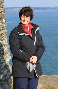 Rame Head, windblown Ruth Livingstone, by the ruined chapel