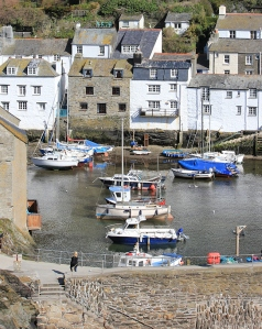 Polperro Harbour, Ruth walking the coast, South West Coast Path