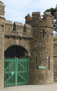 entrance to Caerhays Castle, Ruth's coastal walk
