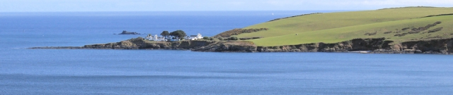 Chapel Point, from Mevagissey, Ruth walking the coast