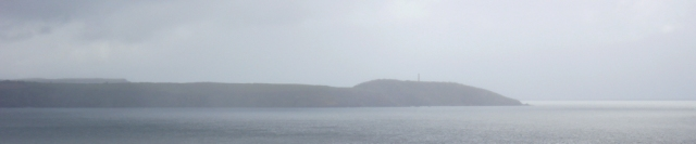 rain over Gribbin Head, Ruth's coastal walk