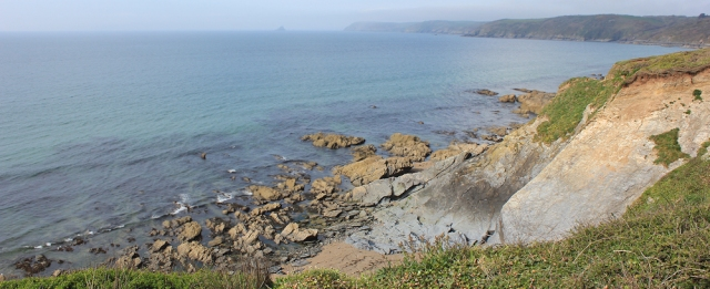 view across Veryan Bay, Ruth walking round the coast, Cornwall