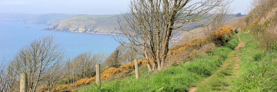 easy walking to Portholland, Ruth on the South West Coast Path