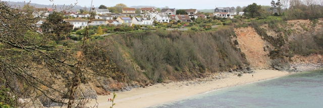 rockfalls, Duporth, Ruth walking the South West Coast Path