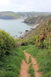 path to Gorran Haven, Ruth walking the South West Coast Path, Cornwall
