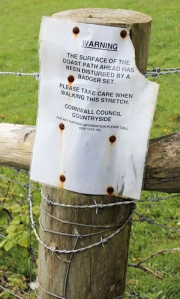 badger set notice - Ruth on her coastal walk, Cornwall