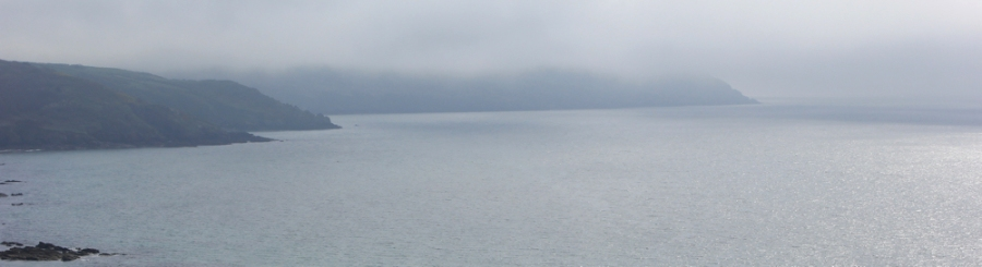 cloud over Dodman Point, Ruth on the South West Coast Path, South Cornwall