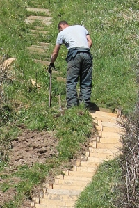 replacing steps, East Combe, South West Coast Path