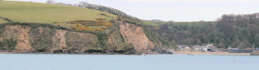 rock fall at Polkerris, Ruth's coastal walk. South West Coast Path