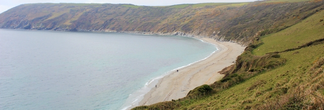 Vault Beach from the east, Ruth walking the SW Coast Path, Cornwall