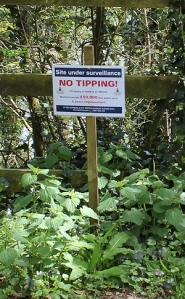 No tipping - sign on Ruth's walk, St Austell Bay