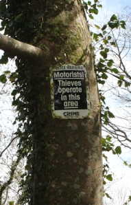 Thieves- sign on Ruth's walk, St Austell Bay