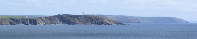 Gribbin Head and Pencarrow Head, Ruth walking the coast