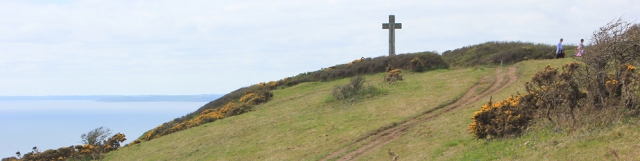 Cross at Dodman Point, Ruth walking around the Cornish Coast