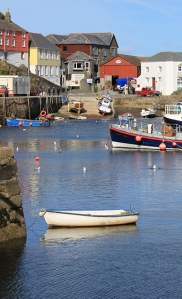 Mevagissey harbour, Ruth walking the coast of Cornwall