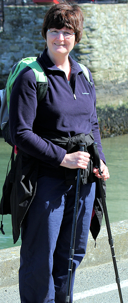 Ruth, waiting for ferry at Polruan
