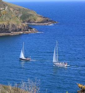 more ships, sailing into Fowey, Ruth walking around the coastline.