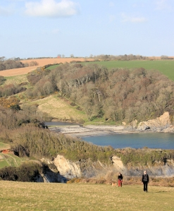 olridmouth Cove Beach - Ruth walking the South West Coast Path