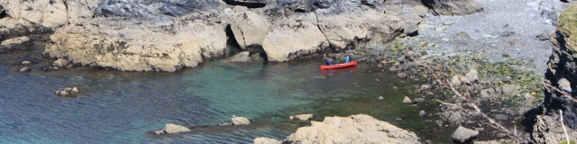 canoe off Nare Head, Ruth's walk around the coast of Cornwall