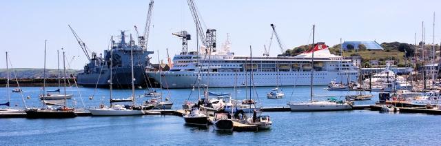 07 mixture of ships, Falmouth, Ruth's coastal walk