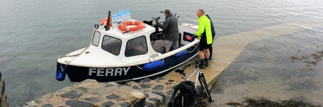 08 Ferry with bikes, Helford, Ruth walking the South West Coast Path