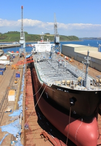 08 Ship in dry dock, Falmouth, Ruth on her coast walk