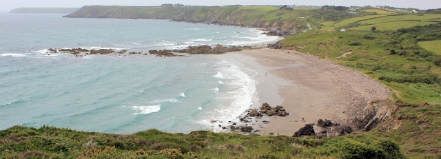 12 Kennack Sands, Cornwall, from the South West Coast Path, Ruth on her coast walk
