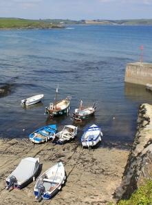 14 fishing boats at Portscatho, Ruth's coastal walk