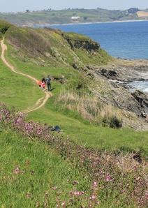 path to Towan Beach, Ruth walking in Cornwall