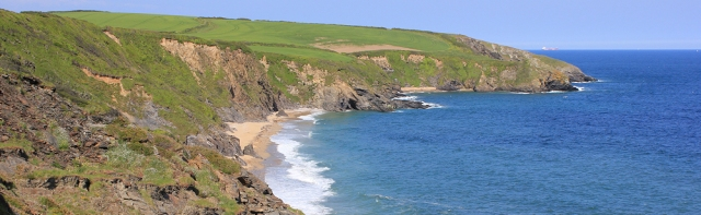 Porthmellin Head and Porthbeor Beach, Ruth on South West Coast Path, Cornwall