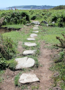20 stepping stones to Coverack, Ruth on SW coast path