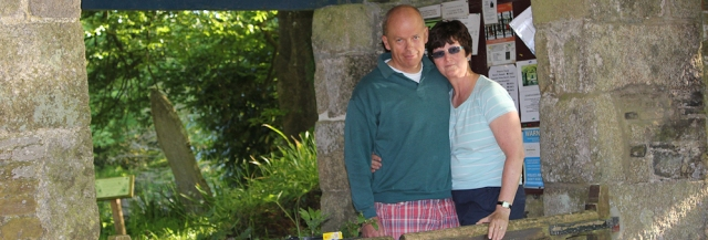 25 Ruth and hubby in porch at Mawnan Church, Ruth's coast walk