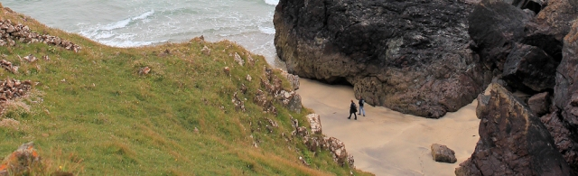 Soapy Cove, Ruth walking in Cornwall