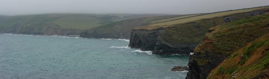 dismal view ahead, Ruth coast walking in drizzle