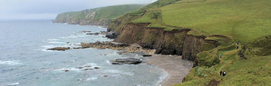 walkers overtake me, on South West Coast Path, Porthleven
