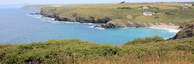 Polurrian Cove, Mullion, Ruth walking the South West Coast Path