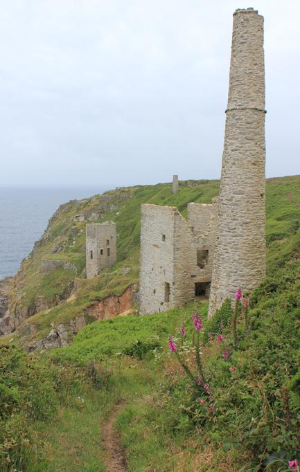 tin mine, Ruth on coastal walk