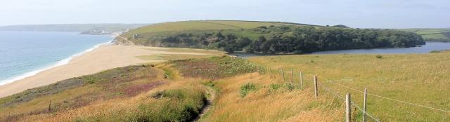 Loe Bar and Carminoe Creek, SWCP, Ruth walking through Cornwall