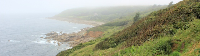 Merthen Point, RUth on the South West Coast Path in fog