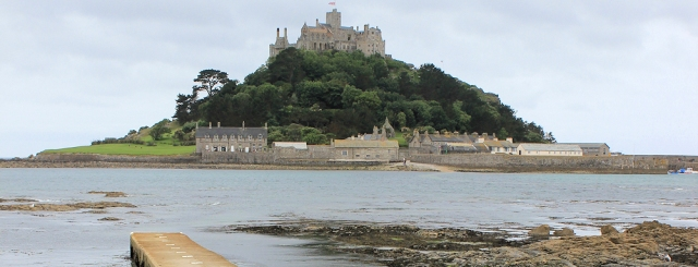 St Michaels Mount, covered causeway, Ruth walking the coast of the UK