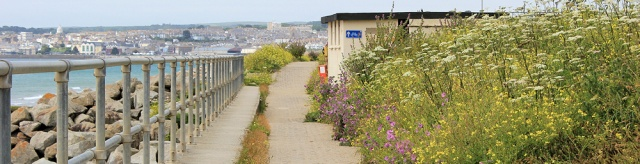walking into Penzance, Ruth on St Michael's way