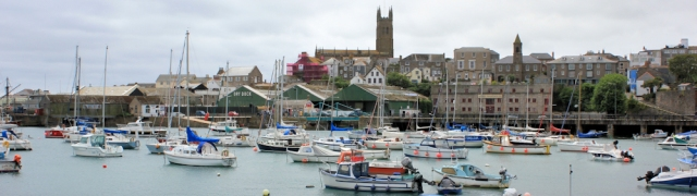 Penzance harbour, Ruth walking the coast