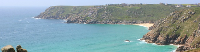 Porth Curno, Ruth on the South West Coast Path