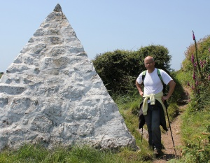 ohn in front of telegraph cable monument, Ruth Livingstone, Porthcurno
