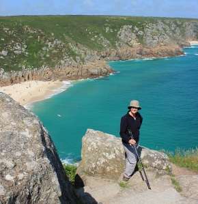 Above Porthcurno beach, Ruth walking the coast, Cornwall