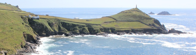 looking back, Cape Cornwall and house, Ruth's coast walk