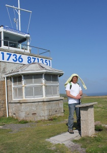 Lookout station, Gwennap Head, John with Ruth on her coast walk