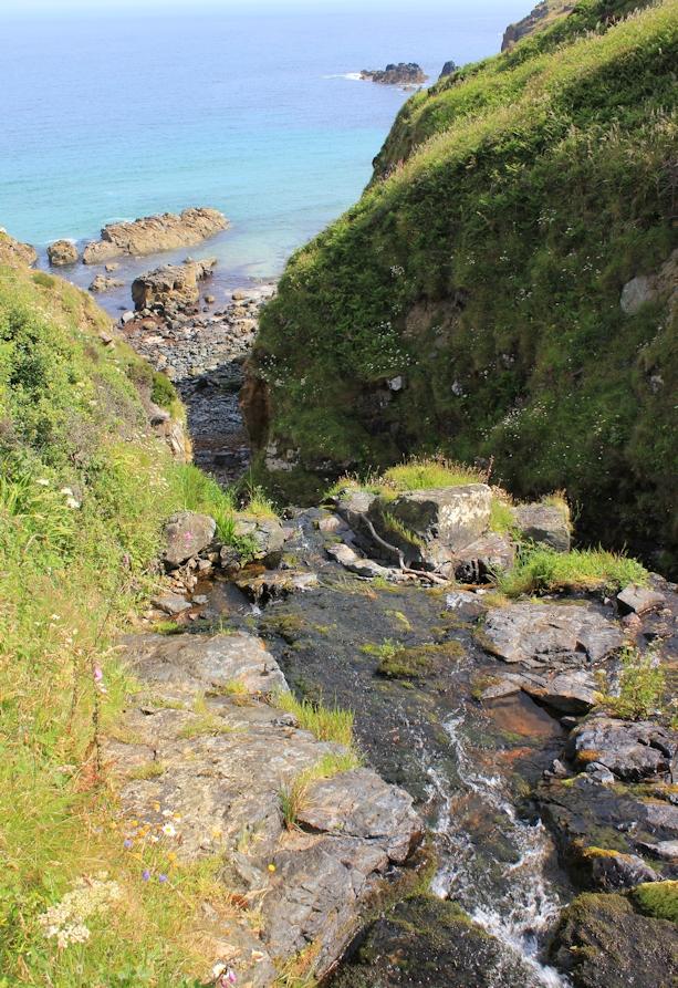 waterfall, Ruth's coastal walk, South West Coast Path, Cornwall